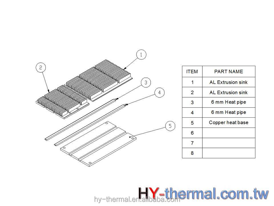 Heat sink Aluminum Extruded profiles OEM Lap Top thermal module HY520