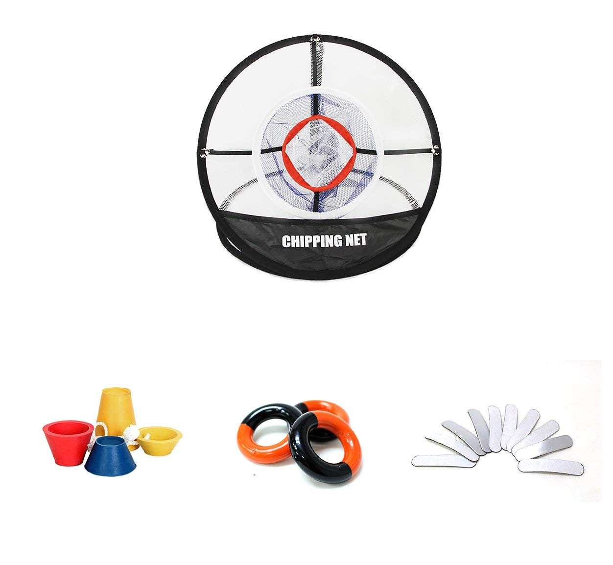 POSMA CN010H Portable Golf Training Chipping Net set with Hitting Aid Practice In/Outdoor Bag Hitting Nets+Weight Power Swing Ring Red and Black+Lead Weight Tapes for Golf Clubs Warm Up+Winter Tee