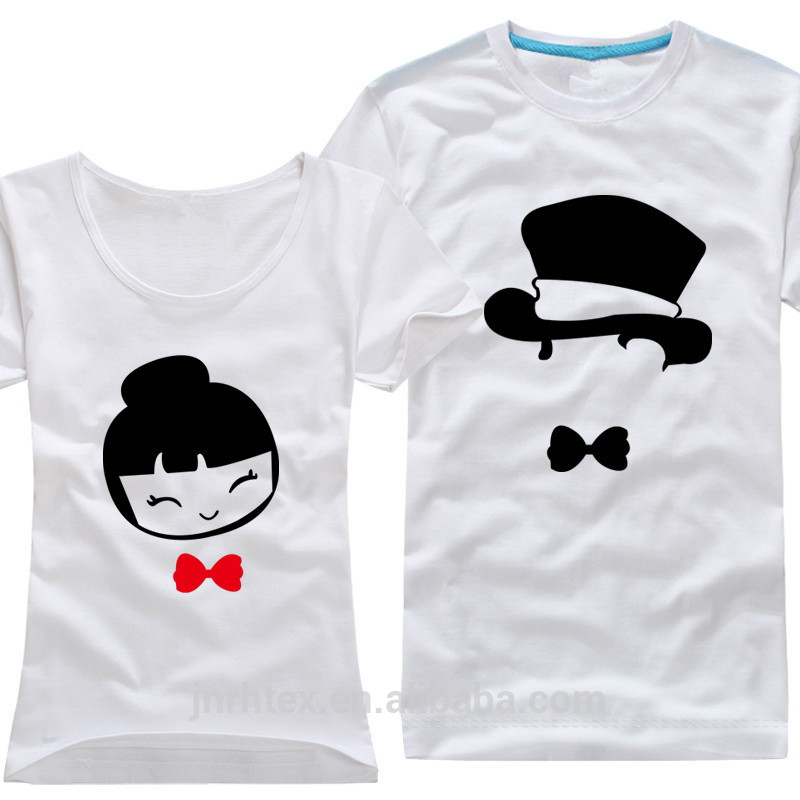 Cute newest 100 cotton print couple t shirt couple shirts for Best couple t shirt design