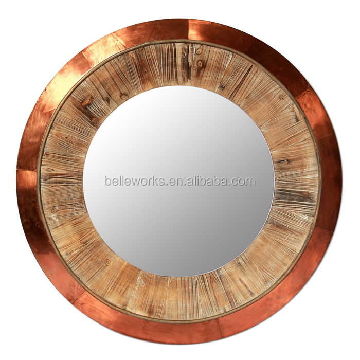 Vintage Large Round Copper Wall Mirror