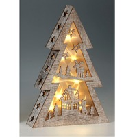 Tangchen Pre-Lit Christmas Wooden Tree Star Decoration Illuminated with Warm White LEDs, 37 cm - Multi-Colour