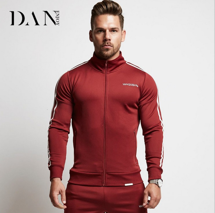 Style New Muscle VQ Sleeves Men's Coat Pull Print Slim Sweater Training <strong>Sports</strong> Stand Collar Fitness Jacket