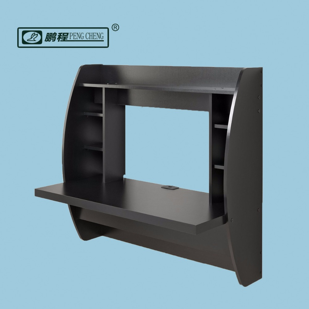 Oem Service Wood Wall Mounted Floating Desk With Storage Black