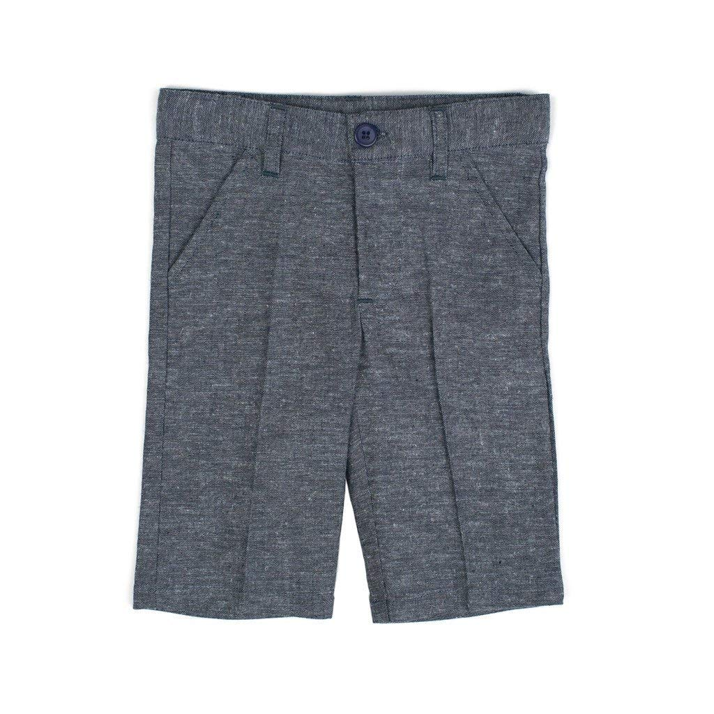 Piccino Piccina P&P Baby Boy Short Spring Pants - Classic Blue Plaid Linen Shorts, 6 Years