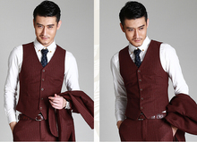 man's 3pc suite in wine red color, wedding suit