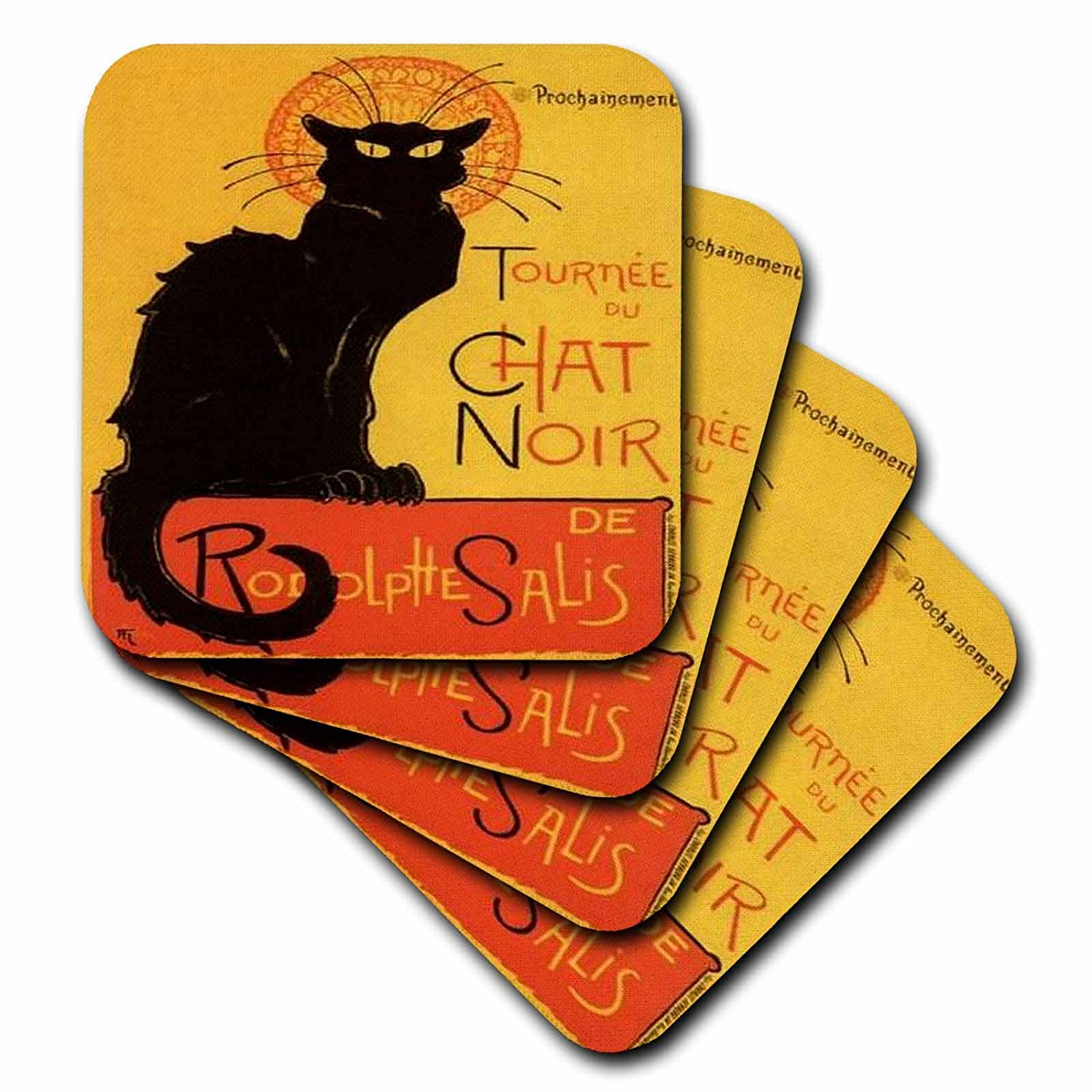 3dRose cst_46907_3 Le Chat Noir Advertising, Art Nouveau, Black Cat, Cat, Cats, Chat Noir, Le Chat Ceramic Tile Coasters, Set of 4