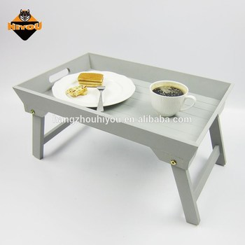 Portable Bed Sofa Wooden Breakfast Serving Tray With Handle Foldable Legs