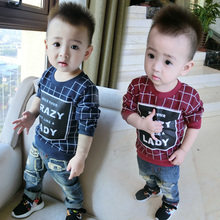 China Wholesale Baby Boys Screen Print Plaid Pattern Boys Clothing T-shirt