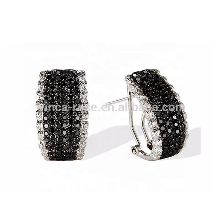 Black zircon stone silver jhumka earrings jewelry wholesale for men