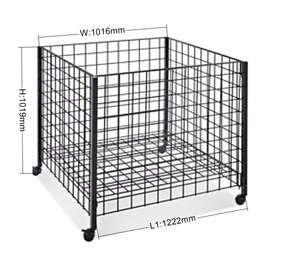 Metal Wire Basket Dump Bin For Supermarket Retail Rotating Display Rack With Wheels