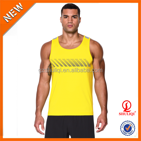 Fresh color nice singlet for men,silk screen printing cotton polyester tank top,wholesale cheap dri fit gym tank top