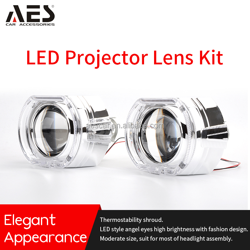 Aes Led Angel Eye Projector Lens Kit Car Headlight Style Led Shroud Headlamps For H4 H7 View Led Projector Lens Aes Product Details From Guangzhou Aes Car Parts Co Ltd On Alibaba Com
