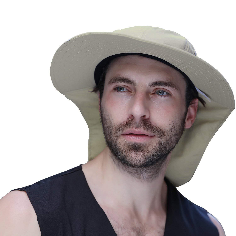 SPWIS Sun Caps Flap Hats,Outdoor Fishing Hat UPF 50+ Sun Protection Cap Wide Brim Fishing Hat Neck Flap Man Women Baseball Backpacking Cycling Hiking Fishing Garden Hunting Outdoor Camping