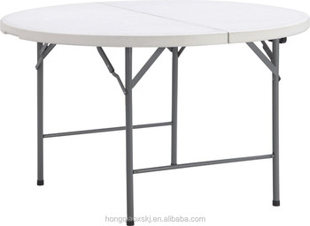 5 Feet Plastic Folding Half Moon Dinning Table, Wholesale Low Price Round  Banquet Folding Table