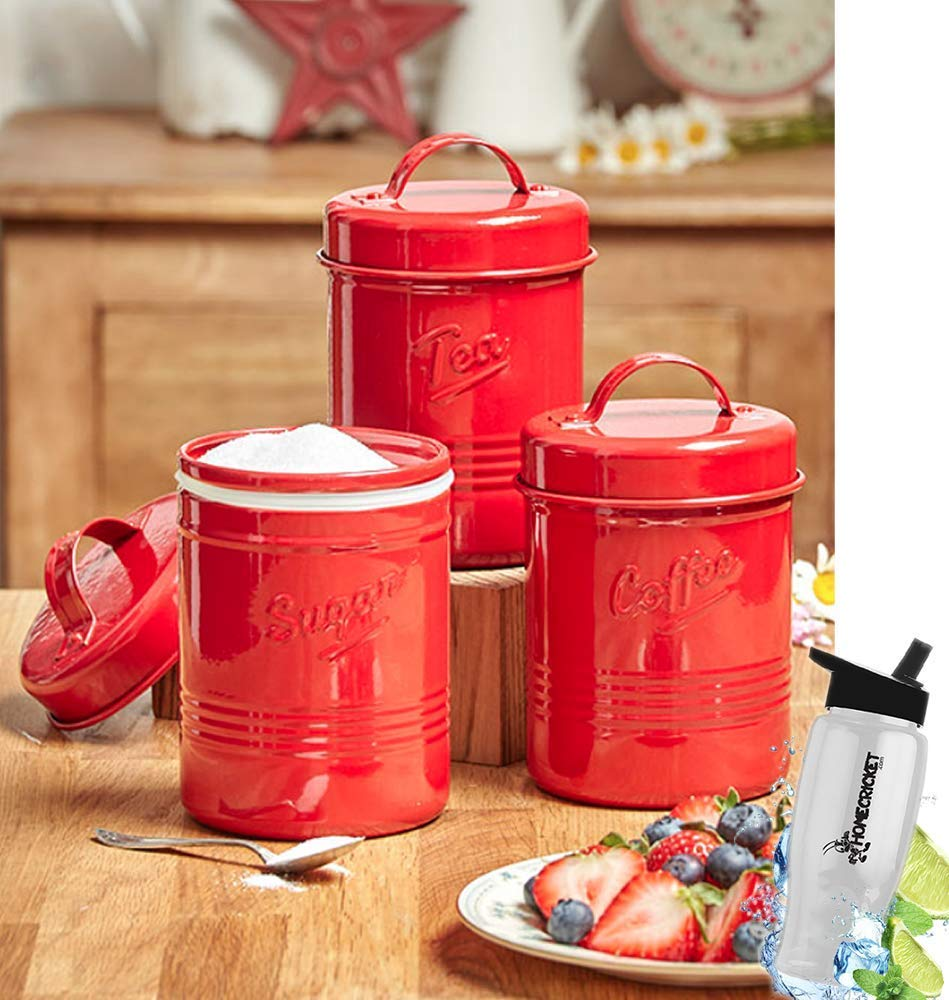 """Gift Included- Country Kitchen Set Of 3 Antique Look Vintage Metal """"Tea"""", """"Sugar"""" """"Coffee"""" Canisters + FREE Bonus Water Bottle by Homecricket (Red)"""