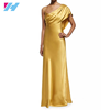 Yihao 2016 ladies latest Draped One-Shoulder prom party formal long gold Silk Gown
