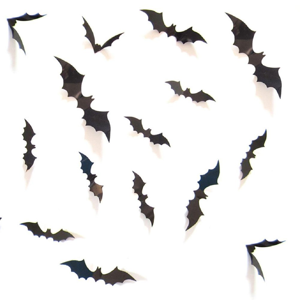 Halloween Party Supplies PVC 3D Scary Bats Wall Decal Wall Sticker Halloween Eve Decor Home Window Decoration Set, 12pcs,black