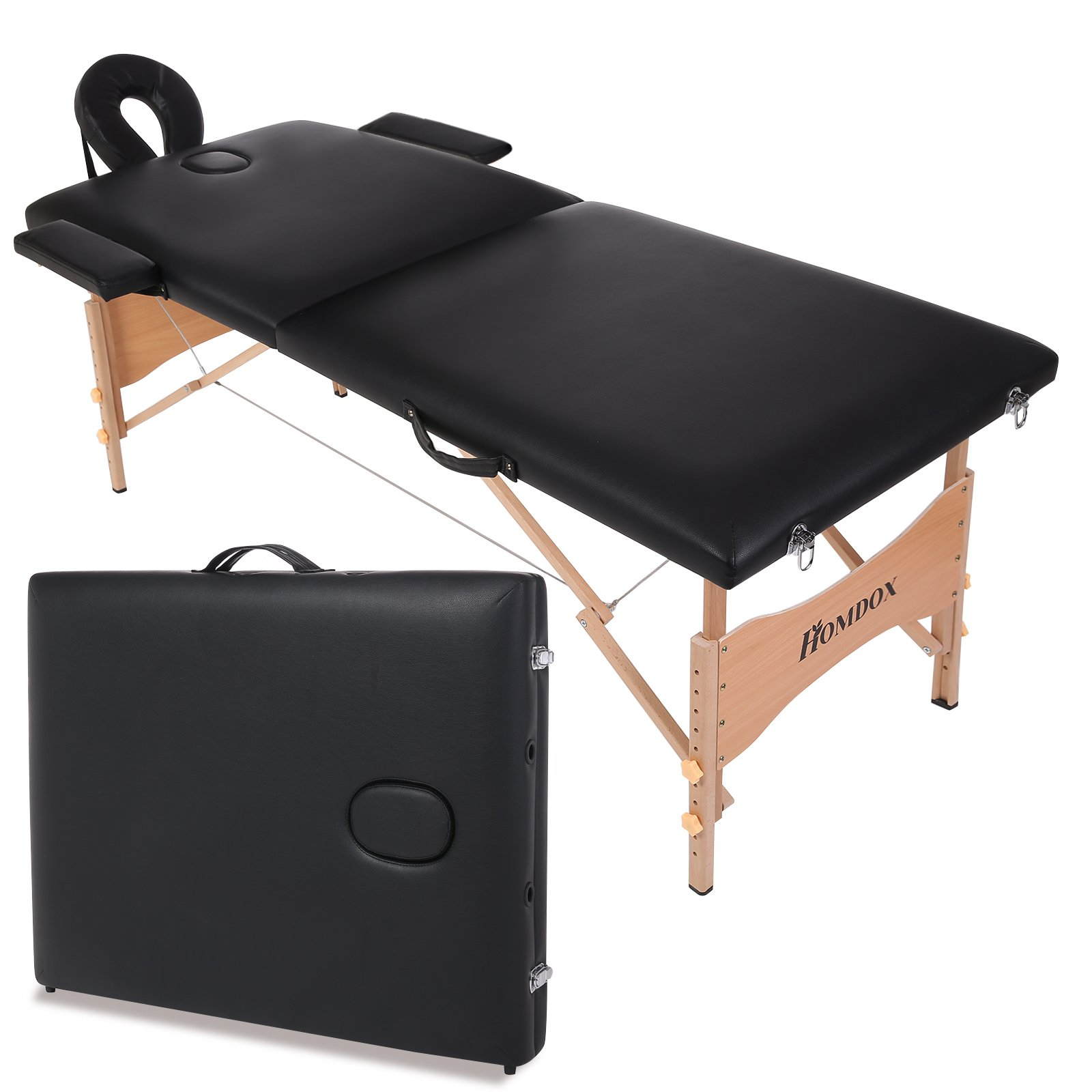 Homdox Portable Massage Table,Two-fold and Wooden Feet w/Free Carry Case