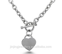 Stainless Steel Heart Charm Cable Chain Necklace with Toggle Clasp