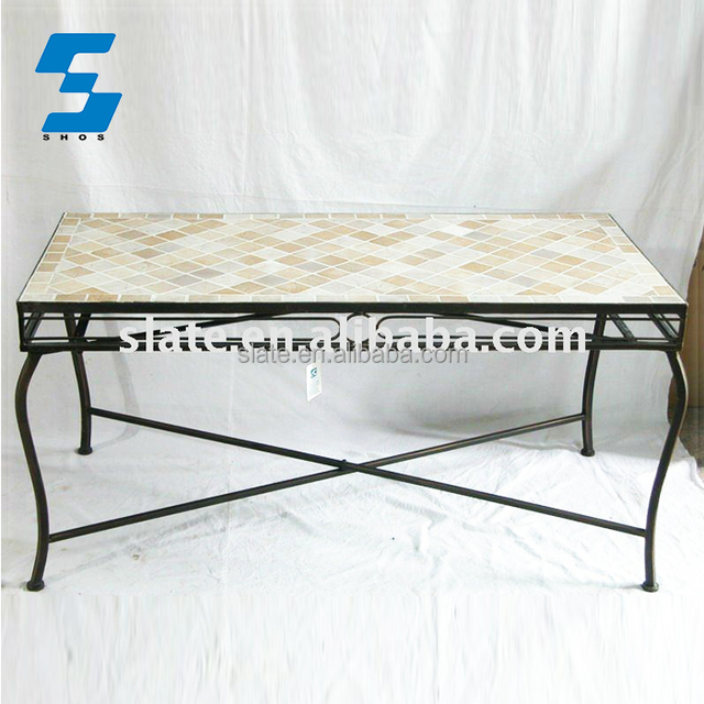 French Furniture European Style Rustic Industrial Coffee Table Tile