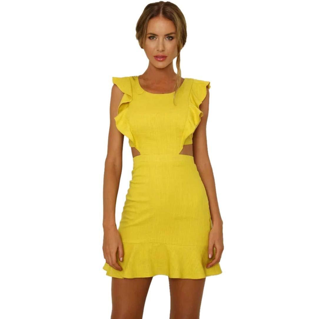 Yuxikong Mini Dress,Women Solid Short Sleeve Ruffles Backless Hollow Out Beach Boho Short Dress