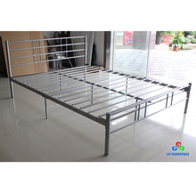 Factory price single twin size metal steel pipe platform bed frame with headboards