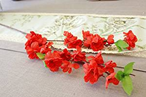 Artificial Flowers Little Peach Blossom Branches Simulation Flower Artificial Flower Silk Flower Corsage Living Room 3 Fork Small Peach, Red
