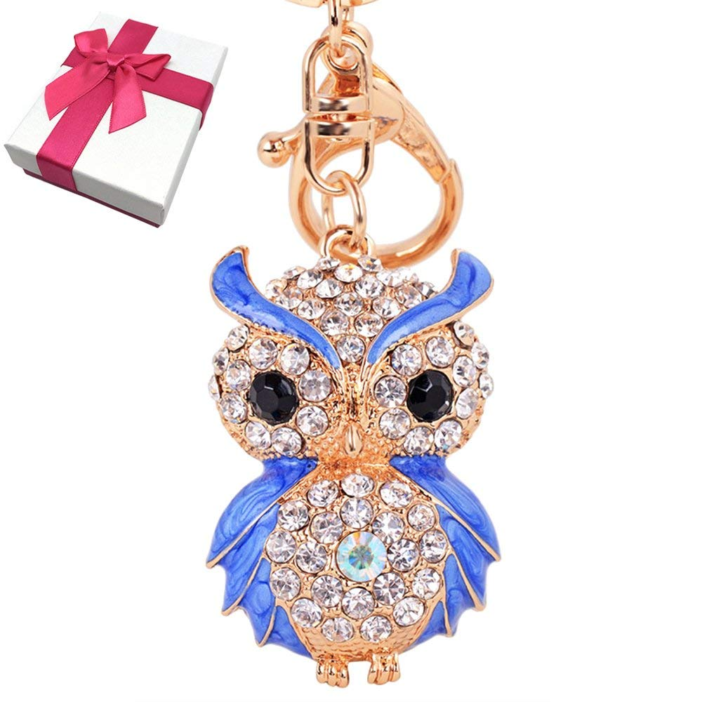Elesa Miracle Girl Women Opal Rhinestone Owl Keychain, Purse Bag Charm, Handbag Accessories, Car Key Chain