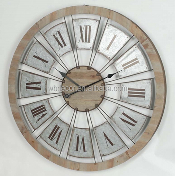 Große Verzinktem Retro Runde Uhrwanduhr Holz Gesicht Design Und
