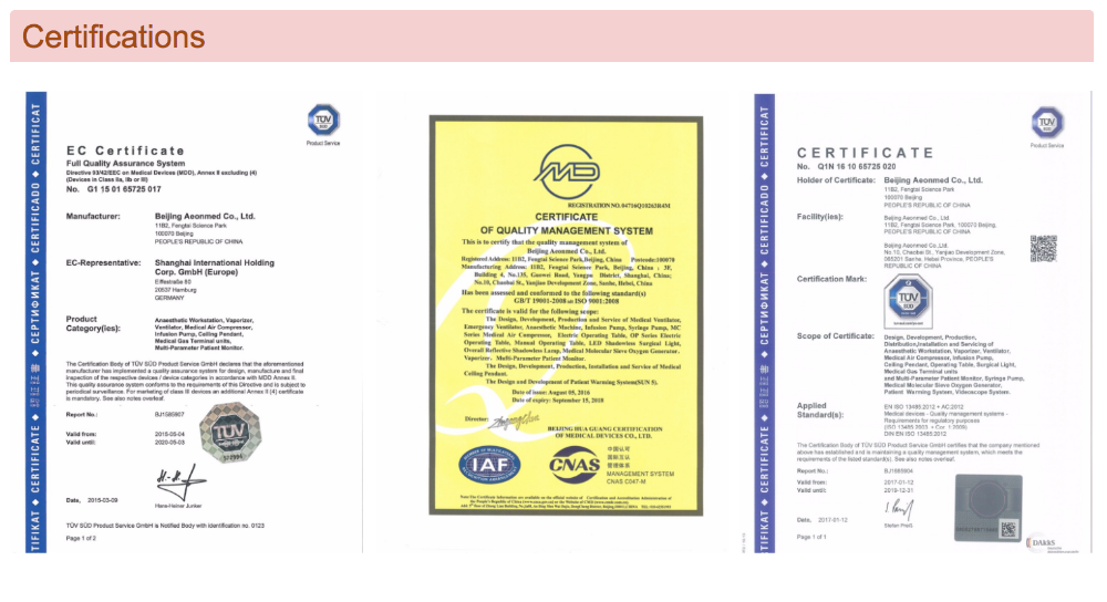 CE marked medical anesthesia ventilator machine/apparatus