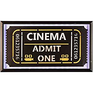 Admit One Framed Lighted Wall Decor Sign Media Room Movie Theater Decoration
