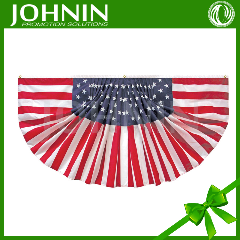 custom printing 300 D polyester JOHNIN made USA election using pleated full fan American flag banners