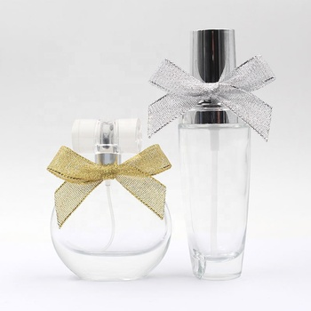 Decorative glitter pre-tie ribbon bow with elastic for perfume bottle