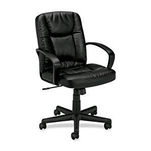 "Wholesale CASE of 2 - Basyx Executive Pneumatic Mid-back Leather Chair-Executive Chair, Pneumatic, 25-3/8""x34-1/2""x38-3/4"", Black"