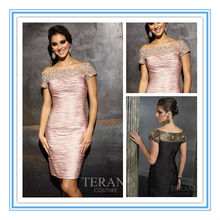Elegant Pleated Taffeta Sexy Formal Cocktail Dresses With Short Sleeves (COTE-1020)