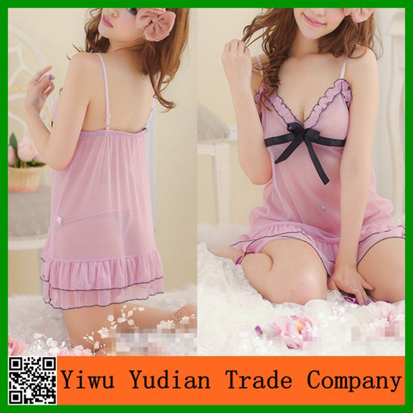 Beautiful Girl Short Pink Sexy Nighty Dress Picture