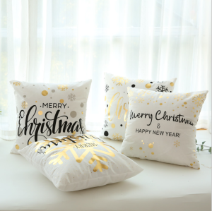 Christmas Nordic style 18*18 Hot stamping bronzing custom printing cushion cover gold foil printed pillows