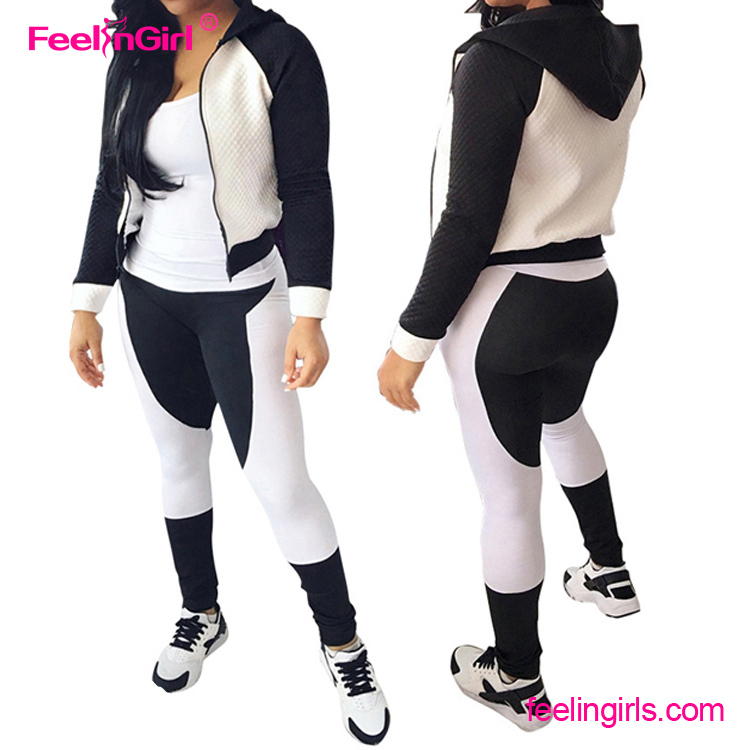 Feelingirl Black and White Hoodie Sport Jacket Womens New Design Track Suit