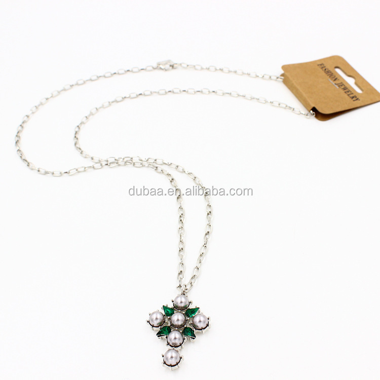 Cross pendant necklace pearl cubic zirconia fixed in charm cross pendant necklace pearl cubic zirconia fixed in charmgemstone cross sweater pearl aloadofball Images