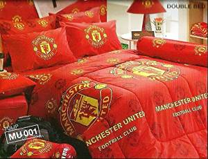 Manchester United football Club Official Licensed Bed Fitted Sheet Set (Queen size, MU001) 4 Pieces Set : 1 Bed Fitted Sheet, 2 Standard Pillow Case and 1 Standard Bolster Case