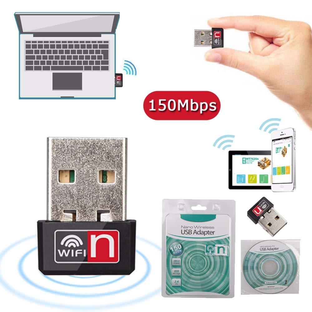JillierPortable Mini 150Mbps USB 2.0 Hi-Speed Interface Wireless WiFi Adapter Network LAN Card Dongle MT7601 for PC Laptop