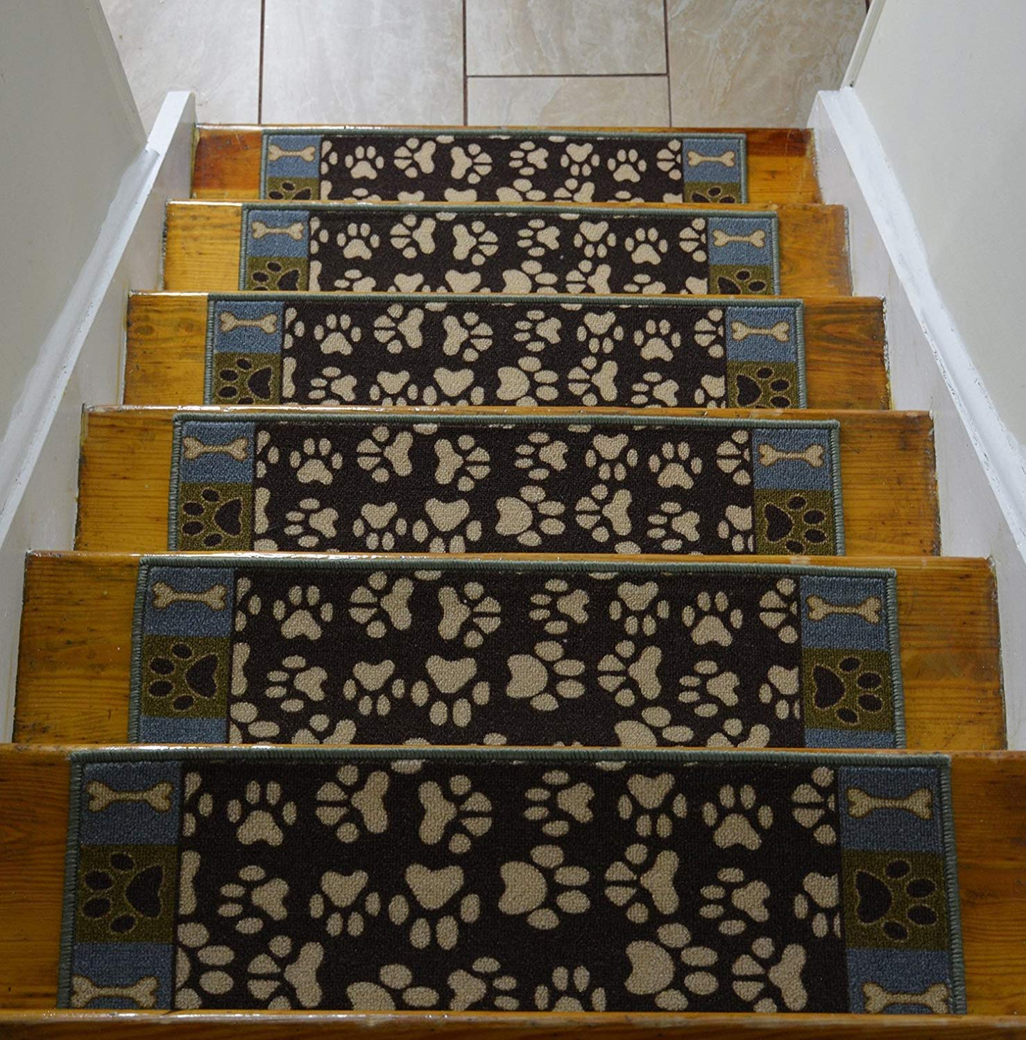 Get Quotations Stair Treads Skid Slip Resistant Backing Indoor Carpet Pet Paw Design 8 ½ Inch