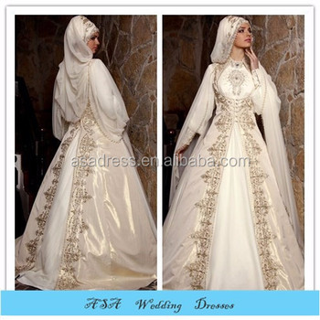 MUSL 888 Fabulous Dubai Newest Design Long Sleeve Beading Organza Bridal Hijab Wedding Dress For