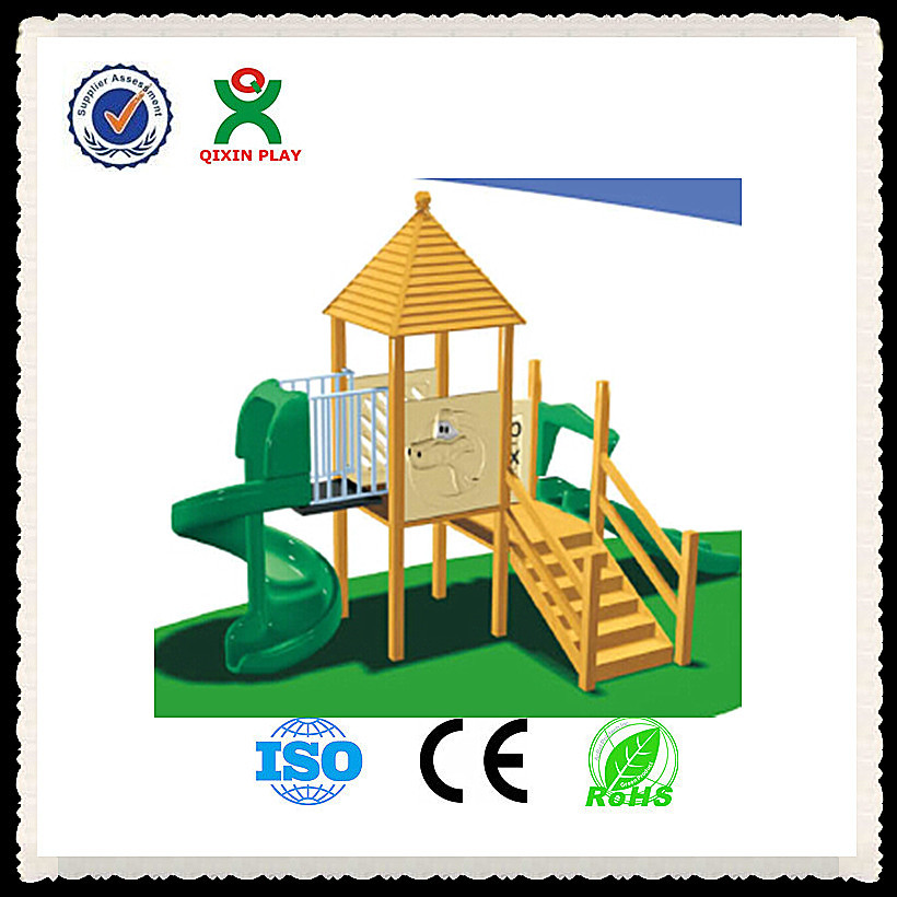 high quality kids wooden slide new wooden playhouse with slide cheap indoor wooden playground slide QX-B2010