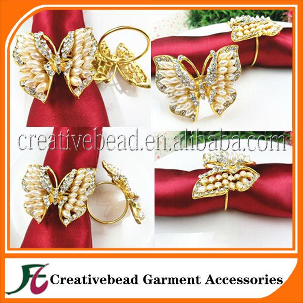 Gold plated rhinestone pearl butterfly napkin ring bulk wholesale