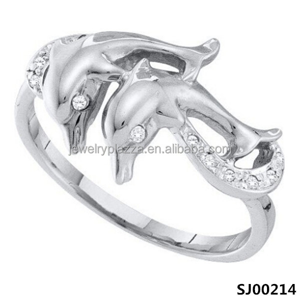 Sterling Silver Double Dolphin Ringnew Design European Wedding