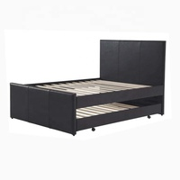 Straight Slat Double Layer Leather Bed With Trundle