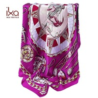 100% Natural Silk Charmeuse Square Hand Rolled Custom Silk Satin Head Scarf Printing