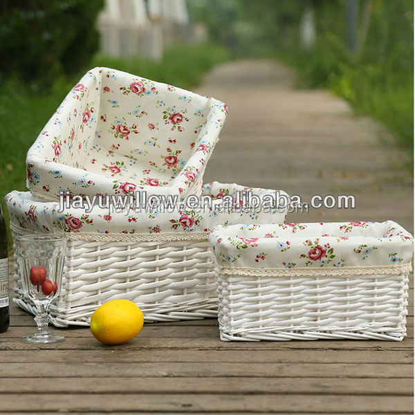 jiayu White miniture willow storage hamper with fabric