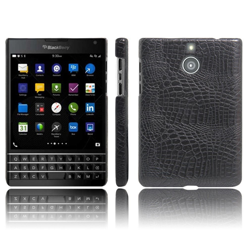 BlackBerry Passport Silver Edition Leather Case,Yaker QSQ Super Leather Cover Pc Hard Case Shell Compatible for BlackBerry Passport Silver Edition (Black)